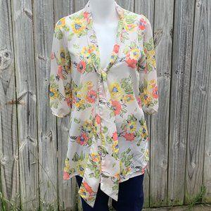 Everly sheer top,necktie,Spring&Summer flowers